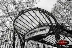 Black and white of Abbesses Metro Station awaning paris france