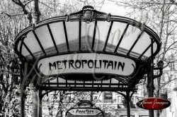 Black and white of Abbesses Metro Station awaning paris france