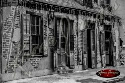 black and white of the oldest pub on bourbon street new orleans louisiana