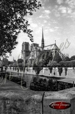 Black and White image of Notre Dame Cathedral Paris France