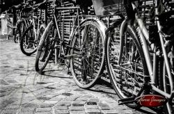 bicycles Black and White image of Paris Street Scenes