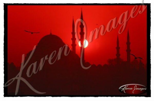 New Mosque Sunset Istanbul Turkey