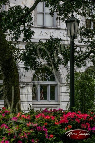 Courthouse and azaelas Savannah Georgia