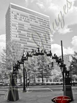 Chick-Fil-A-Monument-Woodruff-Park-Atlanta-Georgia-Black-and-White