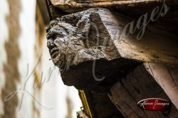 Ancient Wood Carving on a house in Troys France Champagne
