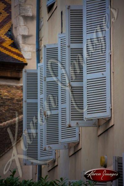 shutters open in Beaune burgundy