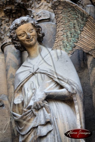 the smiling angel of Cathedral notre dame de reims reims france