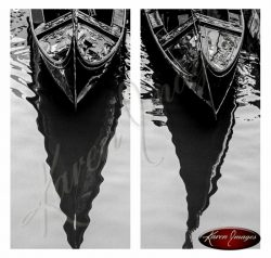 black and white image of gondolas