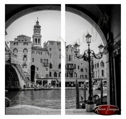 black and white of rialto bridge grand canal venice italy
