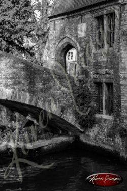 Black and white of brugge belgium cana and ancient bridge