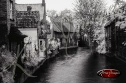 Black and white of brugge belgium reflections of belgian brick work ancient architecture