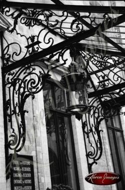 Black and white of brugge belgium decortative iron neuvo gothic art nouveau awaning