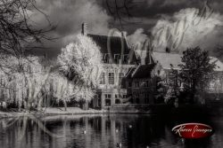 Black and white of brugge belgium Minnewater lake of love