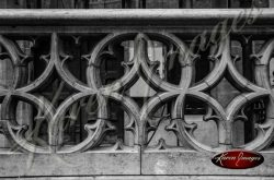 Black and white of brussels belgium decorative stone railing gothic arches celtic decor