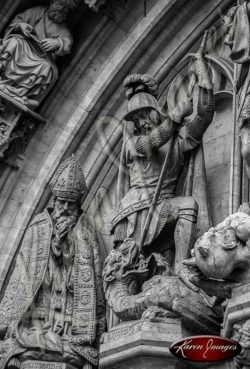 Black and white of brussels belgium statues warrior dragon bishop
