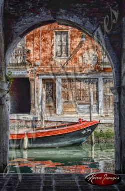 boat on canal in venice