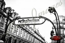 Black and White image of Paris Street Scenes Metro Station