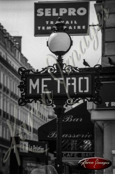 Black and White image of Paris Street Scenes Metro Station