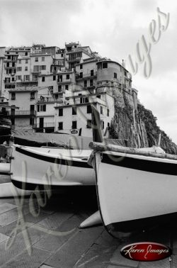 black and white image of boats cinque terre italy