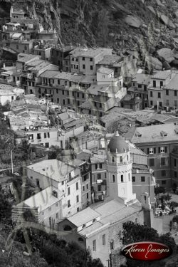 black and white image of cinque terre italy