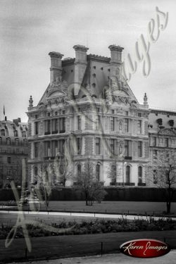 black and white image of the louvre paris france